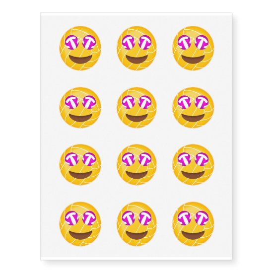volleyball emojis with volleyball eyes set of 12 temporary tattoos