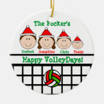 VolleyBall Family 4 Personalize Ornament