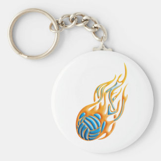 Volleyball Fireball Basic Round Button Keychain