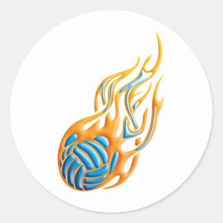 Volleyball Fireball Classic Round Sticker