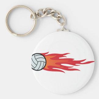 Volleyball Flames Basic Round Button Keychain