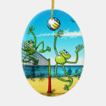 Volleyball Frog Double-Sided Oval Ceramic Christmas Ornament