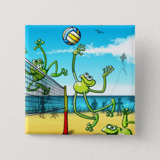 Volleyball Frog Pinback Button