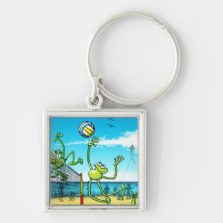 Volleyball Frog Silver-Colored Square Keychain