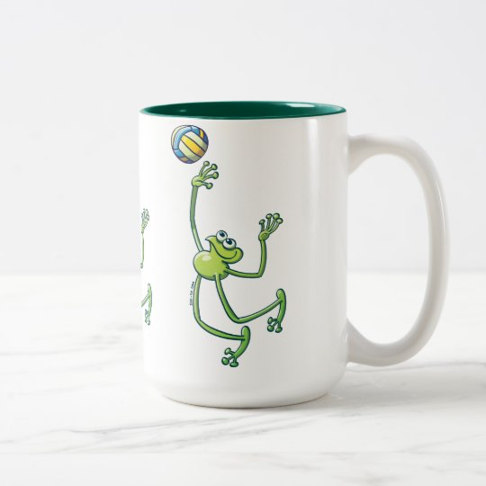 Volleyball Frog Two-Tone Coffee Mug