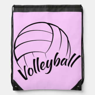 Volleyball Fun Pink Drawstring Backpack