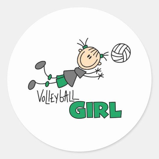 Volleyball Girl Classic Round Sticker