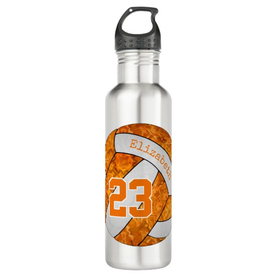 volleyball girl orange and white team colors stainless steel water bottle