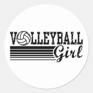 Volleyball Girl Round Sticker