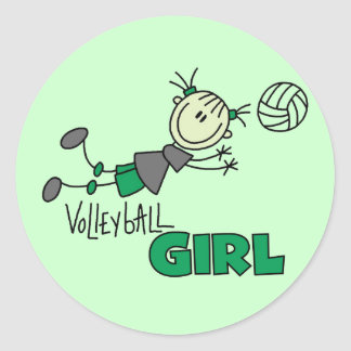 Volleyball Girl Tshirts and Gifts Round Stickers