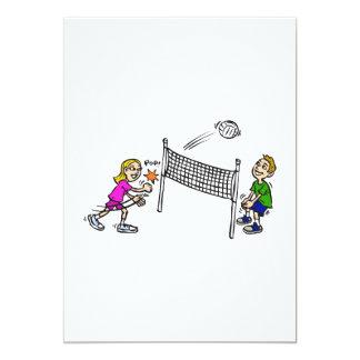 Volleyball girl vs boy 5x7 paper invitation card