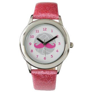 Volleyball glitter pink mustache volleyball watch