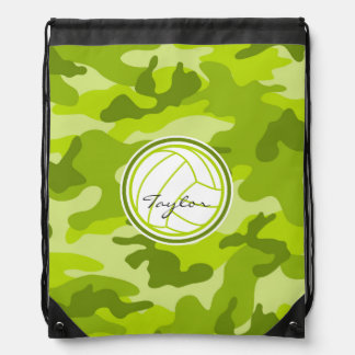 Volleyball; green camo, camouflage drawstring backpack