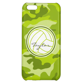Volleyball; green camo, camouflage case for iPhone 5C