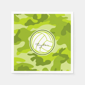 Volleyball; green camo, camouflage paper napkins