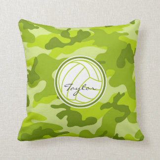 Volleyball; green camo, camouflage throw pillows