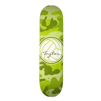 Volleyball; green camo, camouflage custom skateboard
