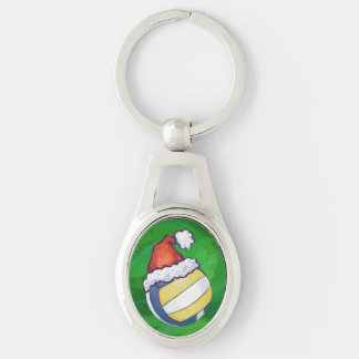 Volleyball Green Christmas Silver-Colored Oval Metal Keychain