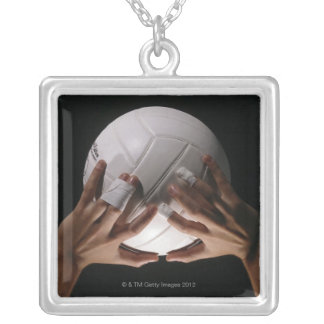 Volleyball Hands Square Pendant Necklace