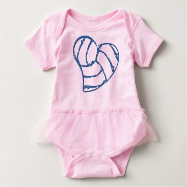Valentines Themed Volleyball Heart Baby Bodysuit