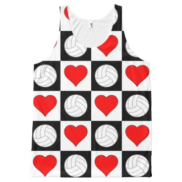Beach Themed Volleyball Heart Black Red & White Checkered Tank