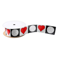 Volleyball Heart Black White Red Checkered Pattern Satin Ribbon