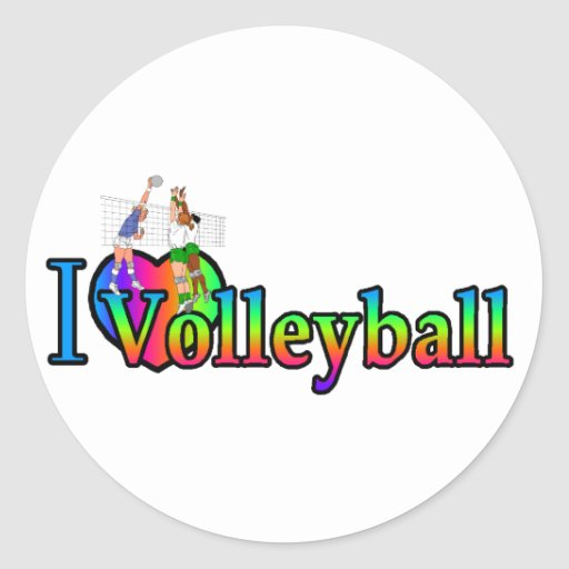 volleyball i heart classic round sticker