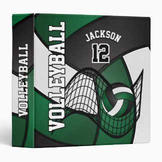 Volleyball in Dark Green, Black and White 3 Ring Binder