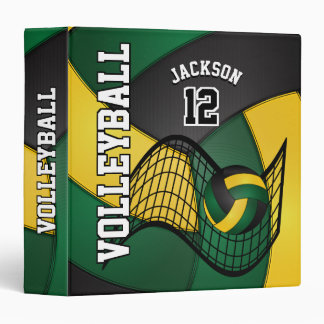 Volleyball in Dark Green, Black and Yellow 3 Ring Binder