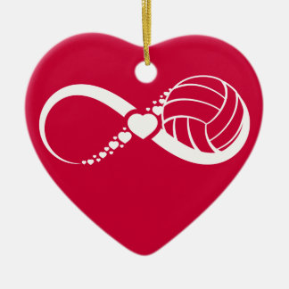 Volleyball Infinite Love Double-Sided Heart Ceramic Christmas Ornament