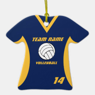 Volleyball Jersey Blue and Yellow with Photo Double-Sided T-Shirt Ceramic Christmas Ornament