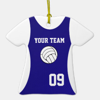 Volleyball Jersey Customizable Blue Christmas Ornament