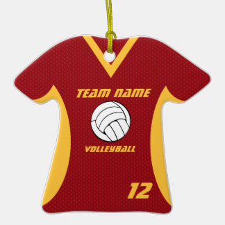 Volleyball Jersey Red and Yellow Ornament