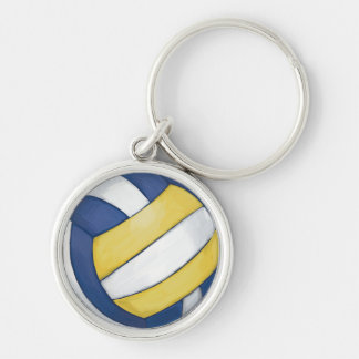 Volleyball Silver-Colored Round Keychain