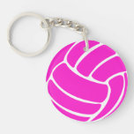Volleyball Keychain w/Name Pink