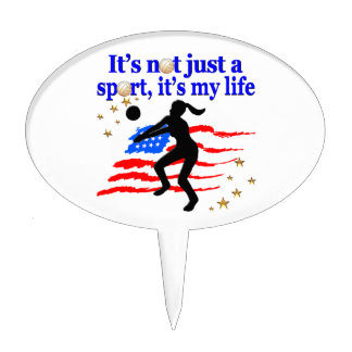 VOLLEYBALL LIFE USA FLAG DESIGN CAKE TOPPER