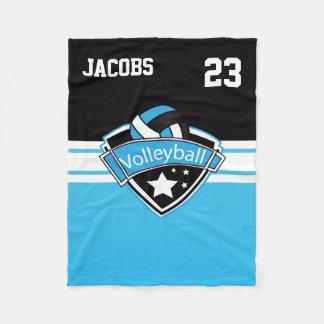 Volleyball Logo in Baby Blue, White & Black Fleece Blanket