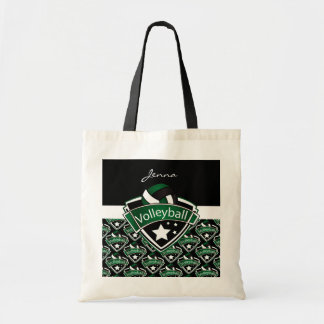 Volleyball Logo in Dark Green Tote Bag