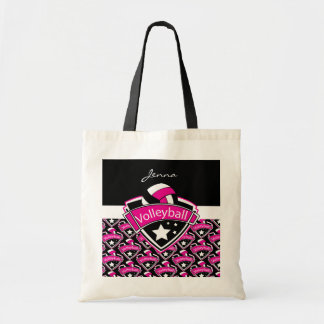 Volleyball Logo in Hot Pink Tote Bag