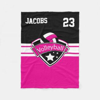 Volleyball Logo in Hot Pink, White & Black Fleece Blanket