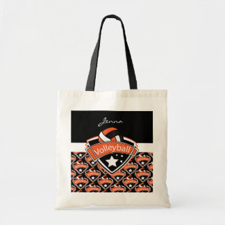 Volleyball Logo in Orange Tote Bag