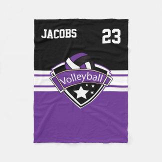 Volleyball Logo in Purple, White & Black Fleece Blanket