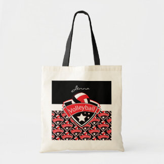 Volleyball Logo in Red Tote Bag