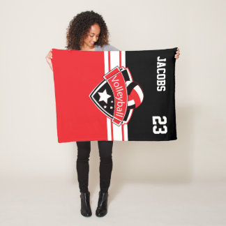 Volleyball Logo in Red, White & Black Fleece Blanket
