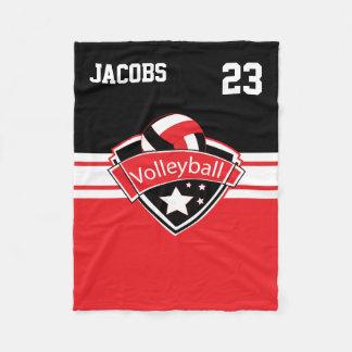 Volleyball Logo in Red, White & Black Fleece Blanket