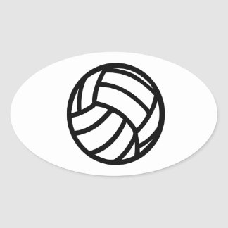 Volleyball logo oval sticker