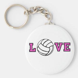 Volleyball Love Basic Round Button Keychain