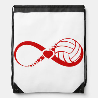 Volleyball Love Infinity Drawstring Backpacks