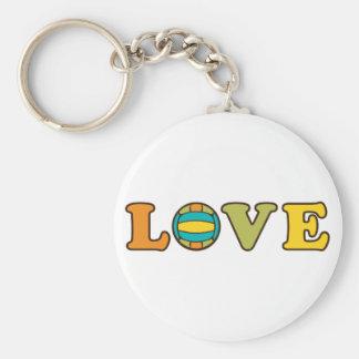 Volleyball Love Sport Basic Round Button Keychain