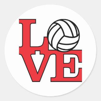 Volleyball Love Classic Round Sticker